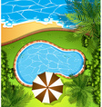 Ocean scene and swimming pool vector image vector image