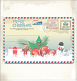 Old Christmas post card vector image vector image