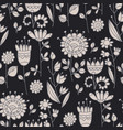 ornate flowers hand drawn seamless pattern vector image vector image