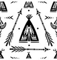pattern with tee pee wigwam and arrows vector image vector image