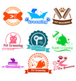 pet grooming service business logos vector image