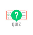 quiz logo with exam test vector image vector image