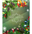 ribbons fir branches and cones vector image vector image
