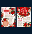 rose flower banner of spring season holiday design vector image vector image