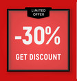 sale 30 percent off get discount website button vector image vector image