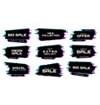 sale labels with glitch effect icons vector image