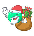santa with gift circle mascot cartoon style vector image
