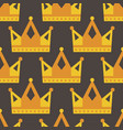 seamless gold crown pattern on dark background vector image