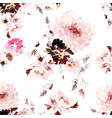 seamless watercolor pattern with peonies vector image