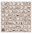 Sepia set of 64 stylish hotel icons vector image