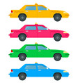 set colored taxi cars icon flat isolated vector image