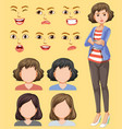 set of female head and facial expression vector image