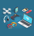 set of modern wireless technology in cartoon style vector image