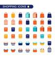 set of shopping nag and basket icons for web shop vector image vector image