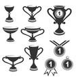 trophy cups icon set vector image vector image