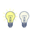 two hand drawn light bulbs vector image