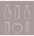 Vase outline icon set Ceramic Pottery Glass vector image vector image