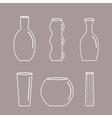 Vase outline icon set Ceramic Pottery Glass vector image