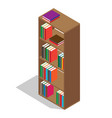 wooden bookcase full of textbooks vector image