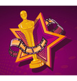 yellow cinema award with big star and fil vector image vector image