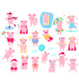 a set of funny piggy characters superhero in a vector image vector image