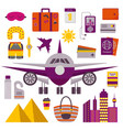 air travel by plane icons vector image