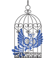 antique bird cage with bird vector image vector image