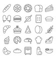 bakery baker icons set collection with outline vector image vector image