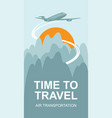 banner for air travel with the aircraft in the sky vector image vector image