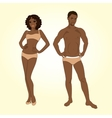 Beautiful young man and woman in lingerie on the vector image vector image