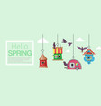 birdhouses with flying birds banner vector image vector image