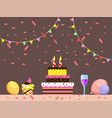 birthday cake with candles and wine vector image vector image