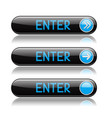 black enter buttons with blue tags and reflection vector image vector image
