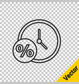 black line clock and percent icon isolated on vector image vector image
