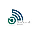 blue sound audio signal wireless with initial vector image vector image
