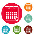 calendar time icons circle set vector image