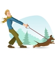 Cartoon man tries to keep a small dog on lead vector image vector image