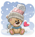 cartoon teddy bear in a knitted cap sits on a snow vector image