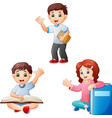 collection of children studying vector image
