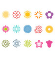 color flower icons set vector image