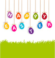 colored hanging eggs Easter card vector image