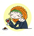 Cute doodle girl with cup of tea and chocolate vector image vector image