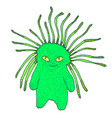 cute green monster with yellow eyes and antennas vector image