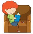 doodle boy reading book vector image vector image