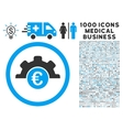 Euro Technology Icon with 1000 Medical Business vector image vector image