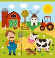 farmer in barnyard with pets vector image vector image
