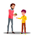 father gives money from his purse to his son vector image