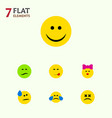 flat icon expression set of cross-eyed face tears vector image vector image