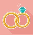 flat wedding ring linked style design isolated vector image
