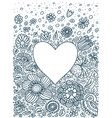 floral background doodle heart vector image vector image